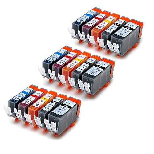 ESTON Multipack Compatible Ink Cartridges Replacement for PGI225 BK and CLI226 (BK C M Y) with Chips 15 Pack