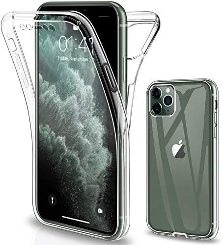 Oihxse Silicona TPU Funda para iPhone XS MAX Carcasa Flexibles Ultra-Delgado Transparente Completa 360 Grados Doble Cara Protección Integral Anti-Arañazos Case