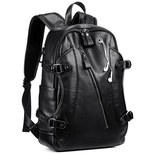 Backpack for Men, KISSUN 15.6 inch Business PU Soft Leather Anti Theft Backpack for Men School College Bookbag Laptop Computer Bags, PU Leather Travel Backpack with Headphone Ports