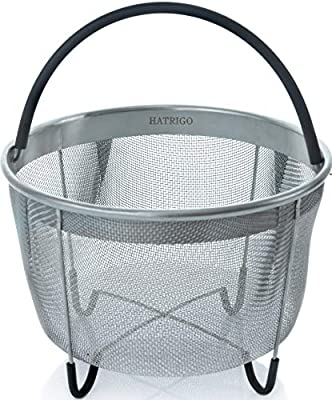 Top Rated Hatrigo Steamer Basket for Pressure Cooker Accessories 6qt [3qt 8qt avail] Compatible with Instant Pot Accessories 6 qt only, Ninja Foodi, Other Pressure Cookers, Silicone Handle, IP 6 Quart