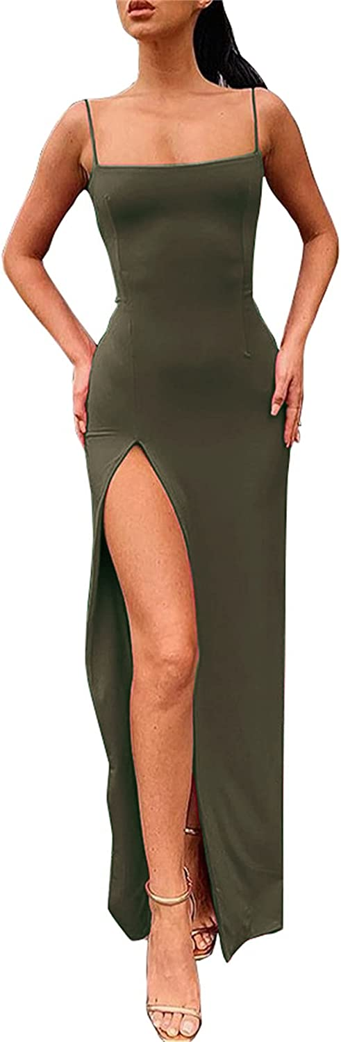 PRIMODA Women's Spaghetti Popular shop is the lowest price challenge Strap Backless Thigh-high Bodycon Selling Slit