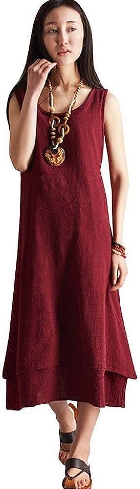 Serenely Women's Slub Cotton Double Layers Sleeveless Long Casual Dress Summer Dress