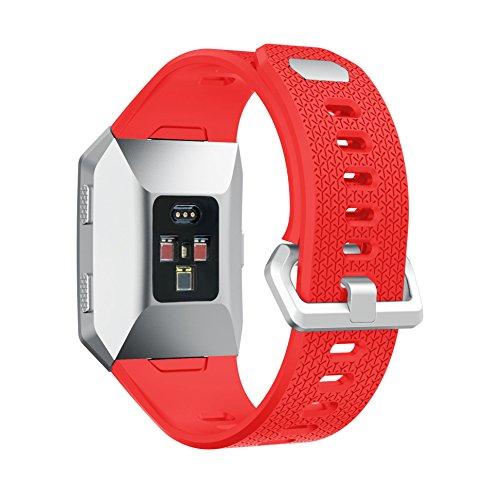 Correa Fitbit Ionic Reloj, MroTech Pulsera de Repuesto Correa de Silicona suave Reemplazo de Banda de Reloj deportiva Accesorio para Fitbit Ionic Smartwatch (rojo)