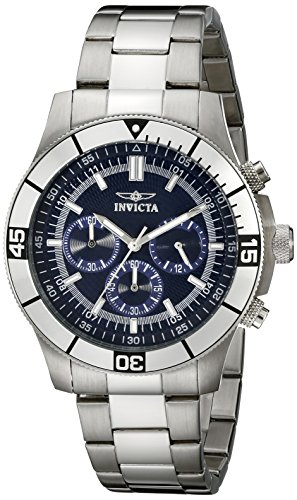 Invicta Watch - Reloj cronógrafo de Cuarzo Unisex con Correa de Acero Inoxidable, Color Plateado