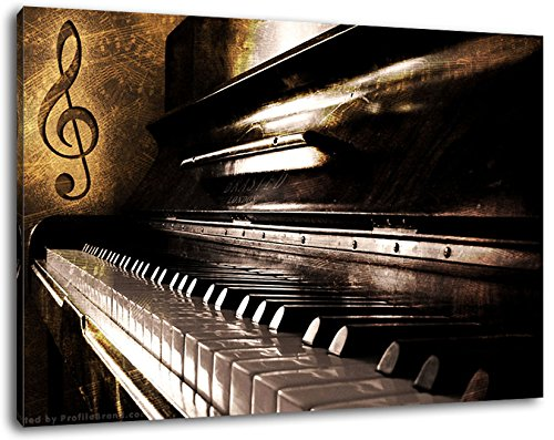 Piano Notes, Nahaufnahme Klavier, Format:80x60 cm, Bild auf Leinwand bespannt, riesige XXL Bilder komplett und fertig gerahmt mit Keilrahmen, Kunstdruck auf Wand Bild mit Rahmen, günstiger als Gemälde oder Bild, kein Poster oder Plakat