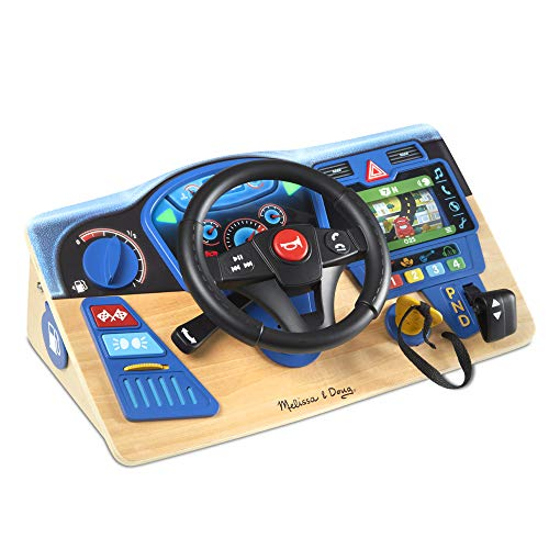 Melissa & Doug Vroom & Zoom Interactive Wooden Dashboard Steering Wheel Pretend Play Driving Toy