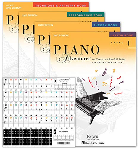 Piano Adventures Level 4 Learning Set 2nd edition By Nancy Faber - Lesson, Theory, Performance, Technique & Artistry Books & Juliet Music Piano Keys 88/61/54/49 Full Set Removable Sticker
