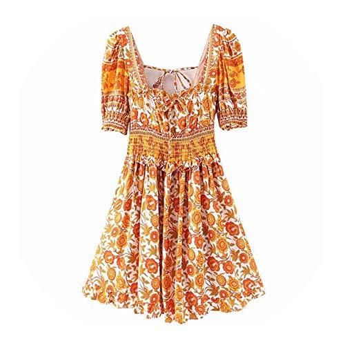 FLOWER-m Boho Floral Print Summer Dress Holiday Square Collar Beach Dress Casual Ladies Chic Ruffled Orange Short Party Dress 2020, S
