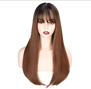 Huanxidp Long Straight Synthetic Wig with Bangs Dark Root Ombre Brown Wigs for Black White Women Cosplay Heat Resistant Ha...
