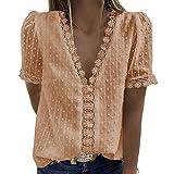 FMYONF Camisa de encaje para mujer, cuello en V, elegante, vintage, gasa, monocolor, manga corta, túnica, beige, XXXL