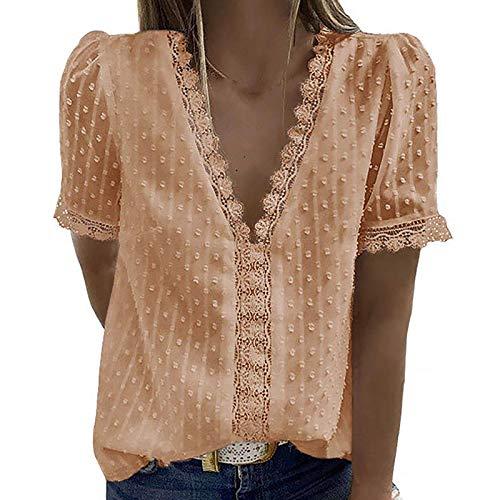 Masrin Damen Tops Mode Spitze Jacquard T-Shirt Tiefer V-Ausschnitt Blumenstickerei Patchwork Pullover Einfarbige Tunika Bluse (L,Beige)