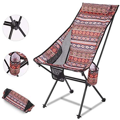 Silla plegable de camping con respaldo alto, portátil, ultraligera al aire libre, con bolsa de tazas, silla de playa, de aluminio, perfecta para camping, festivales, jardín, viajes, barbacoas, rojo, L