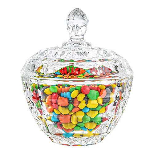 ComSaf Bomboneras de Cristal con Tapa, Bote Cristal para Galletas Caramelo de Menta Tarro de Dulces Chuches (Diámetro: 11CM)