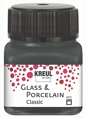 Kreul 16231 - Glass und Porcelain Classic, brillante Glas- und Porzellanmalfarbe auf Wasserbasis, schnelltrocknend, deckend, 20 ml im Glas, grau