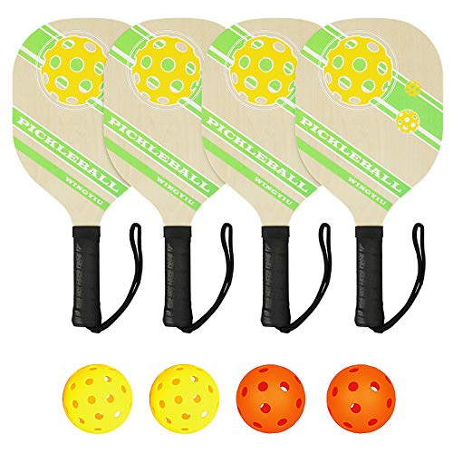 DOVODA Pickleball Paddles Set of 4 -Wooden Pickleball Set with 1 Carry Bag, 2 Indoor Balls, 2 Outdoor Balls, 7-ply Basswood with Ergonomic Cushion Grip, Pickleball Rackets