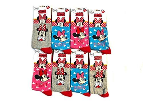 Paquete de 6 Calcetines Disney MINNIE MOUSE, Adorables y Cómodos, Ricos en Algodón para niñas (23-26)