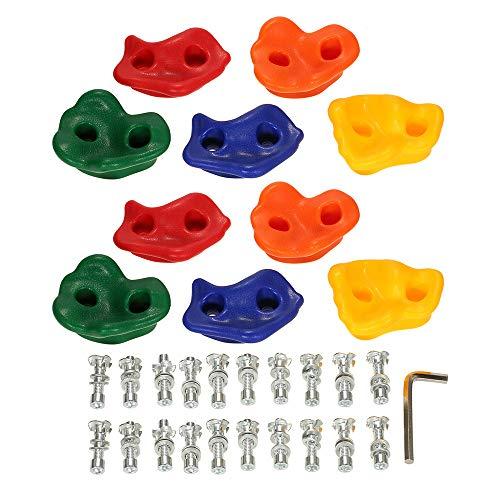 Leeofty Paquete de 10 Soportes para Escalada en Roca Juego de Kit de Piedras para Escalar en Pared Juguetes para niños de Patio Trasero con Tornillos de Hardware de Montaje