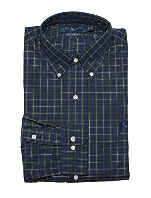Polo Ralph Lauren Mens Custom Fit Dress Shirt Plaid Purple Green Black