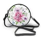 Bolso de hombro redondo de piel auténtica, diseño de flores de hortensia, con correa ajustable para el hombro