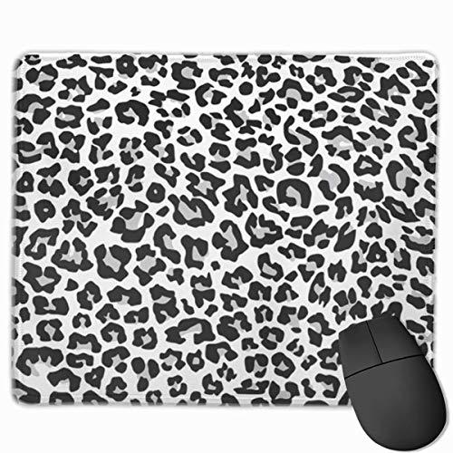 Nettes Gaming-Mauspad, Schreibtisch-Mauspad, kleines Mauspad für Laptop-Computer, Mausmatte Grauer Gepard Schneeleopard Jaguar Weißer Fleck Schwarzes Fell Monochrom Abstraktes Afrika