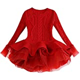 Baby Girls Christmas Outfits Cable Knitted Sweater Pullover Tutu Dress Outerwear Crochet Long Sleeve Winter Party Dress Ruffle Organza Stitching Chunky Rib Jumpers Dress Skirt Red 4-5 Years