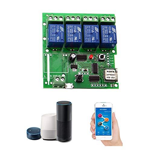 OWSOO Módulo Relé WiFi,Interruttore Intelligente WiFi, Universale Modulo 4ch DC 5V,App Telecomando,Controllo Vocale Compatibile con Alexa Google