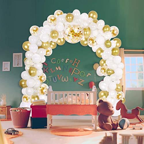 113 Pcs Kit de Guirnaldas con globos Kit de arcos con globos de látex para Decoración de Boda Cumpleaños Fiesta (Oro Blanco)