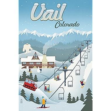 Vail, Colorado - Retro Ski Resort (9x12 Art Print, Wall Decor Travel Poster)