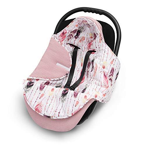 EliMeli Einschlagdecke für Babyschale 100% Baumwolle - Leichte Baby Decke für Autositz aus Waffelstoff und Baumwolle für den Sommer und Frühling, universal z.B. Maxi Cos (Rosa - Federn)