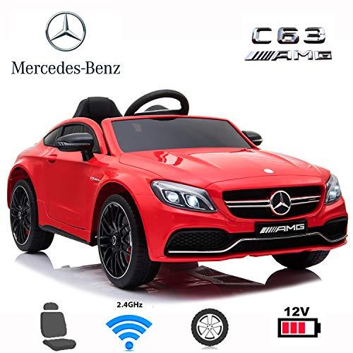 Coches eléctricos para niños Mercedes C63 con Mando Parental 2.4GHz, bateria 12v, Ruedas de Caucho, Asiento en Polipiel (Rojo)