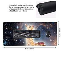 猫柄 星空 マウスパッド ゲーミングマウスパット デスクマット キーボードパッド 滑り止め 高級感 耐久性が良い デスクマットメ キーボード パッド おしゃれ ゲーム用(90cm*40cm)