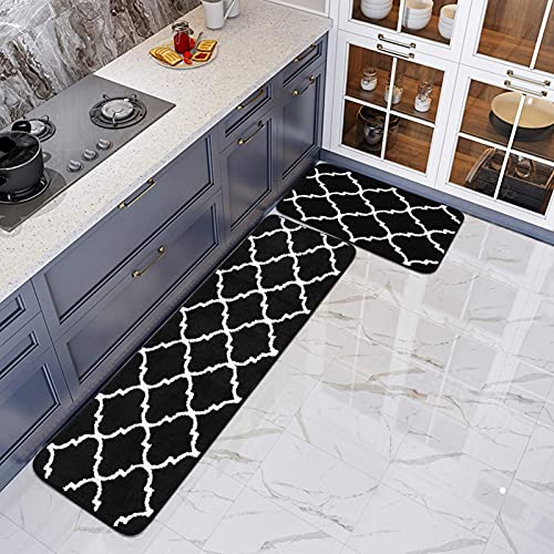 Moroccan Trellis Microfiber Bath Rug 2 Pieces Set Absorbent Non-Slip Kitchen Mat Soft Doormat Carpet for Laundry 20