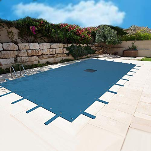 Lona para piscina de 6 x 10 m, red de desagüe, color azul, resistente, anti-UV, ojales