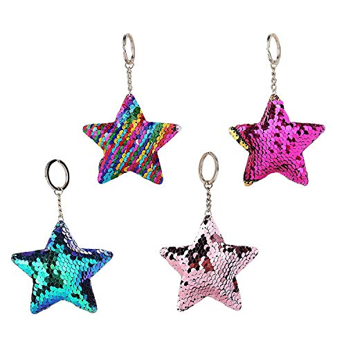 ISKYBOB 4 Pieces Cute Glitter Sequins Keychain Hanging Bag Decoration Keyrings - Stars