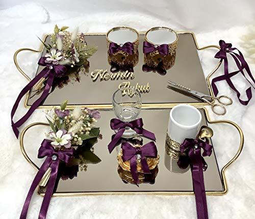 Nazlimshop Nisan Tepsi Damat fincan setTrauring Tablett Verlobung Hochzeit Söz Yüzük Tepsi Ringtablett Ringkissen