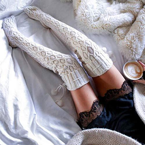 PPangUDing Overknee Strümpfe lange Socken Compression Kniestrümpfe Damen Flauschige Rutschfeste Herbst Und Winter Weiche Warme Gemütlich Atmungsaktiv Wollsocken Wintersocken Haussocken