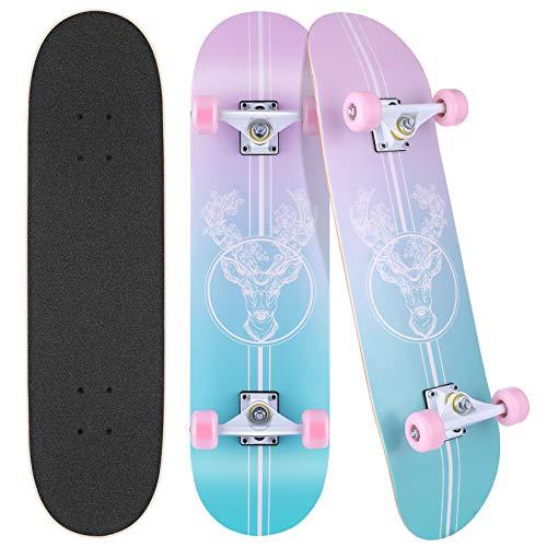 Hikole Completo Skateboard para Principiantes, 80 x 20 cm, Adecuado para Niños, Adolescentes, Principiantes y Profesionales, Monopatín Cóncavo de Arce Doble de 7 Capas