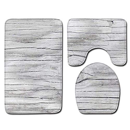 KEAINIDENI toiletmat 3 stks badmat set 3D houten patroon antislip toilettapijten badkamer tapijten set huis toilet deksel deksel douche kamer tapijt vloer matten China 3