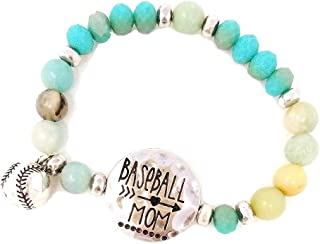 Baseball Mom Beaded Stretch Bracelet with Baseball Charm