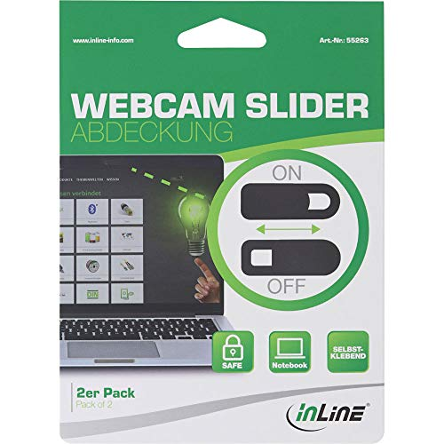 InLine 55263 Webcam Slider Abdeckung, schwarz, 2er Pack