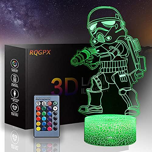 3D ilusión lámpara LED Star Wars lámparas para niños mesita de noche Darth Vader B con control táctil regalos de cumpleaños de Navidad para niños