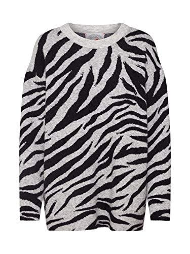 FROGBOX Damen Pullover Zebra schwarz L