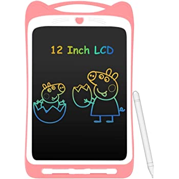 AGPTEK Tavoletta Grafica LCD Scrittura 12 Pollici Colorato, con Pulsante di Blocco, Lavagna da Disegno Portatile per Bambini Studenti Rosa