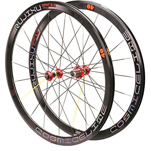 Rennrad Laufradsatz 700c Doppelwandige Felgen 40mm Rennradrad C/V-Bremse QR 8-11 Geschwindigkeit Kassettennaben (Color : B)