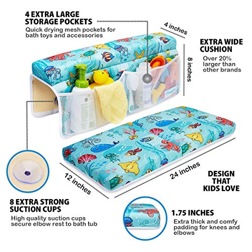 Bath Kneeler and Elbow Rest Pad Set, Extra Large, 1.75 Inch Thick Padded Kneeling Mat for Bathtub, Knee and Elbow Cushion Support for Baby Bathtime with Toy Organizer by ComfyClean