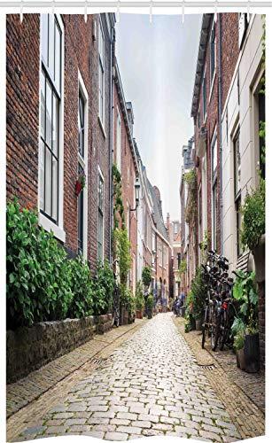 ABAKUHAUS Stad Oude Huizen Douchegordijn, Old City Haarlem, voor Douchecabine Stoffen Badkamer Decoratie Set met Ophangringen, 120 x 180 cm, Veelkleurig