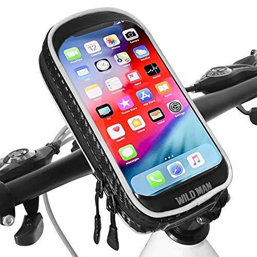 XBoze Soporte Movil Bicicleta Impermeable 360 Grados Rotación Soporte Movil para Moto con Pantalla Táctil Soporte Telefono para Bicicleta para iPhone X/8 Plus/Samsung S9 (6,3 Pulgadas) (Negro)