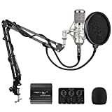 Ofertas Micrófono de condensador profesional para grabación de música, grabación de vídeo, podcast, juegos o chat, plateado