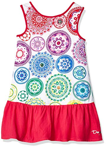 Desigual Girl Knit Dress Sleeveless (Vest_argel) Vestido, Blanco (White 1000), 140 (Talla del Fabricante: 9/10) para Niñas
