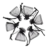 Pandahall 100pcs Black Organza Bags Mini Pouch Bags Drawstring Gift Bags Jewelry Package with Ribbons (1.96x2.75')(5x7cm)
